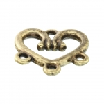 Verbinder (Chandelier), Herz, 3 Fädelösen, 14X14mm, bronzefarben