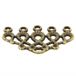 Verbinder (Chandelier), 5 Fädelösen, 20X30mm, bronzefarben