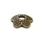 Perlenkappe, Blume, 8mm, bronzefarben
