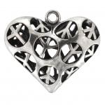 Anhänger, 30X26mm, Herz mit `Peace` Motiven, Metall, silberfarben