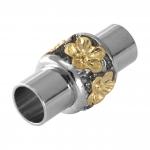 Magnetverschluß, 18X9mm, Loch-Ø 6mm, Metall, silber-goldfarben