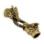Verschlußset mit Drachenköpfen, 42mm, Loch-Ø 6mm, goldfarben