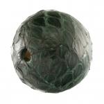 Perle aus Leder, 16mm, rund, smaragdgrün