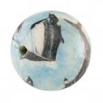 Papier- / Holzperle, 15mm, Fische, rund, hellblau
