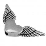 Flügelperle, 25X12mm, Metall, silberfarben