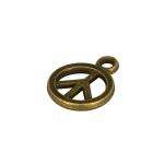 Peace-Anhänger Metall, 6mm, bronzefarben
