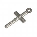 Kreuz-Anhänger Metall, 18mm, silberfarben