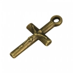 Kreuz-Anhänger Metall, 18mm, bronzefarben