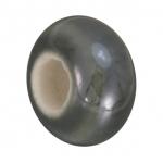 Keramik-Großlochperle (emailliert), 16mm, grau