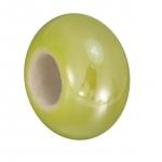 Keramik-Großlochperle (emailliert), 16mm, limetten gelb