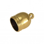 Endkappe mit Öse, 9mm, Loch-Ø 5mm, goldfarben
