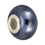 Keramik Großlochperle, 16X11mm, blau-grau
