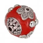 Designerperle aus Fimo, 15mm, rot