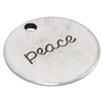 """Metallanhänger """"peace"""", 20mm, silberfarben"""