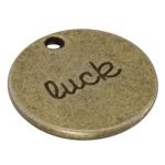 """Metallanhänger """"luck"""", 20mm, bronzefarben"""