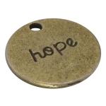 "Metallanhänger ""hope"", 20mm, bronzefarben"