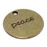 "Metallanhänger ""peace"", 20mm, bronzefarben"