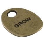 "Metallanhänger ""GROW"", 20mm, bronzefarben"