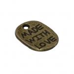 """Metallanhänger """"MADE WITH LOVE"""", 12X9mm, bronzefarben"""