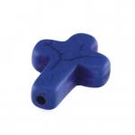 Motivperle, 16X12mm, Kreuz, 16mm, blau