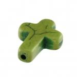 Motivperle, 16X12mm, Kreuz, 16mm, khaki-grün