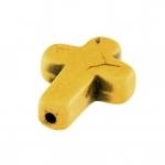 Motivperle, 16X12mm, Kreuz, 16mm, gelb-khaki