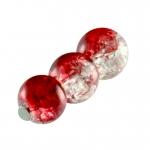 Glasperle in Kristalloptik, 6mm, rund, rot-transparent