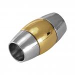 Magnetverschluß, 18X10mm, Loch-Ø 6mm, Metall, silber-goldfarben