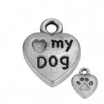 """""""LOVE MY DOG"""" Anhänger, 13mm, silberfarben"""