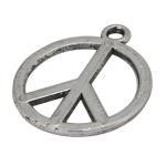 Metallanhänger (Peace-Zeichen), 14X17mm, silberfarben