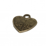 "Metalanhänger ""I LOVE YOU"", 11X10mm, bronzefarben"
