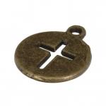 Metallanhänger (Kreuz), 17X14mm, bronzefarben