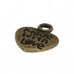 """Metallanhänger """"Made with Love"""", 12X11mm, bronzefarben"""