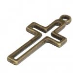 Metallanhänger (Kreuz), 23X11mm, bronzefarben