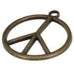Metallanhänger (Peace-Zeichen), 27X24mm, bronzefarben