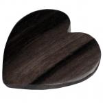 Holzperle (Tiger Ebony Wood / Ebenholz), 36X36mm, Herz, dunkelbraun