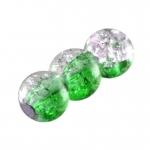 Glasperle in Kristalloptik, 6mm, rund, grün-transparent