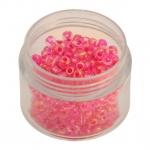 Rocailles, 20g, rund, 4mm (6/0), transparent rainbow mit pink-farbenem Farbeinzug