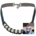 Anleitung Samt Halskette mit Perlen