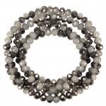 Perlenstrang (145 Perlen), briolette, 4X3mm, naturweiß dunkelsilber