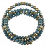Perlenstrang (145 Perlen), briolette, 4X3mm, türkis opal dunkelsilber