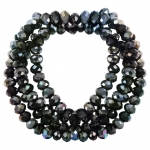 Perlenstrang (145 Perlen), briolette, 4X3mm, schwarz silber