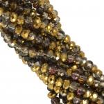 Perlenstrang (195 Perlen), briolette, 3X2mm, gold AB