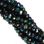 Perlenstrang (195 Perlen), briolette, 3X2mm, schwarz AB