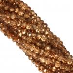 Perlenstrang (195 Perlen), briolette, 3X2mm, kupfer metallic