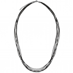 Halskette aus Leder, 60cm, schwarz (silberfarben)