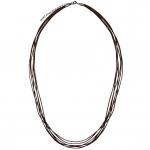 Halskette aus Leder, 60cm, dunkelbraun (silberfarben)