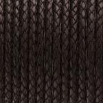 Geflochtenes Lederband, 50cm, 5mm breit, dunkelbraun