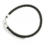 Lederarmband, 17,5cm, schwarz (Sterling Silber)