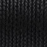 Geflochtenes Lederband, 50cm, 5mm breit, schwarz